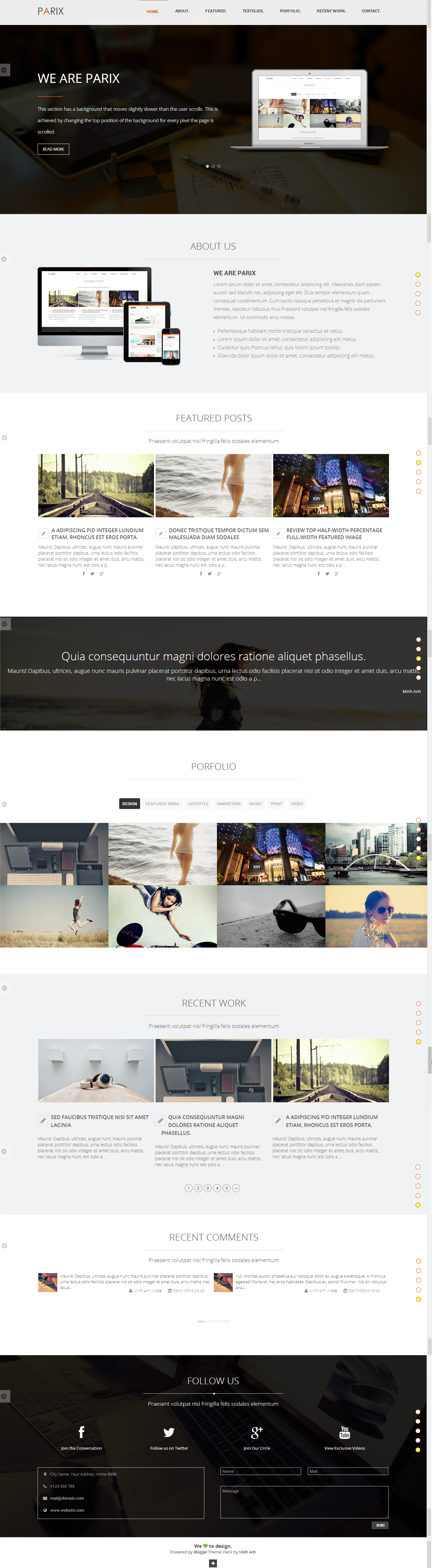 Parix - One Page Blogger Template by minhanh | ThemeForest