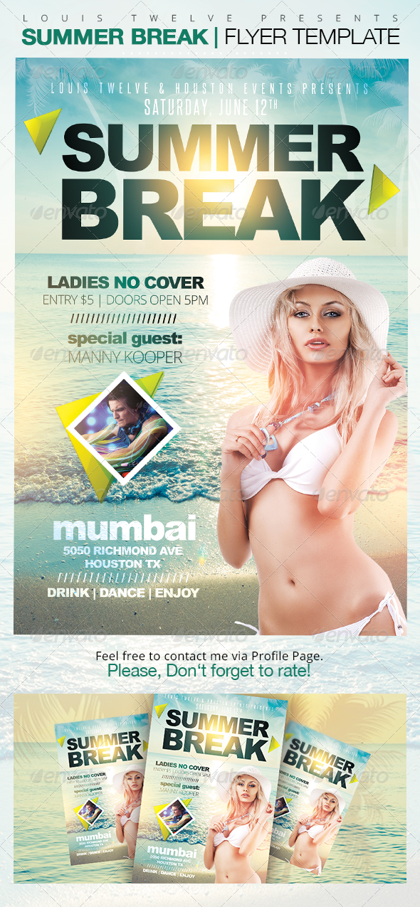 Summer Break Party Flyer Template - Clubs & Parties Events