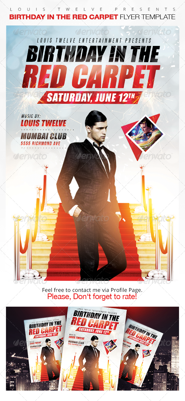 Birthday in the Red Carpet Flyer Template - Clubs & Parties Events