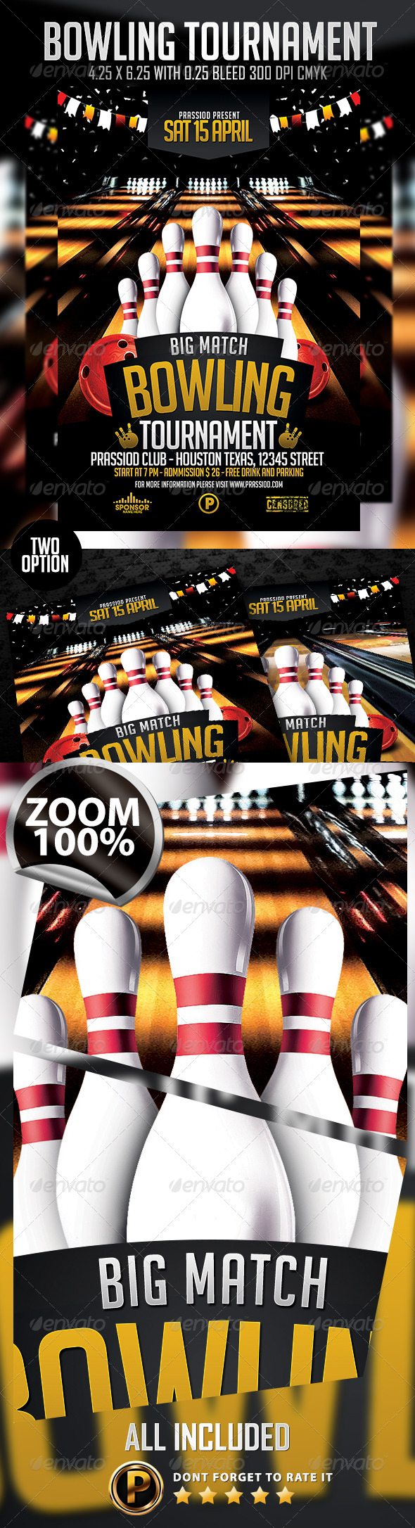 Bowling Tournament Flyer Template - Events Flyers