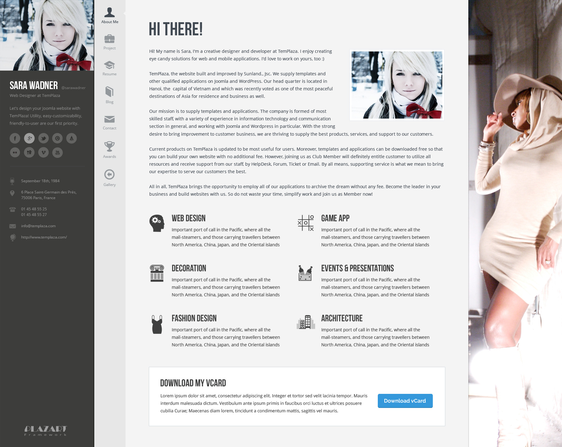 profiler vcard resume wordpress theme - Wordpress Resume Template