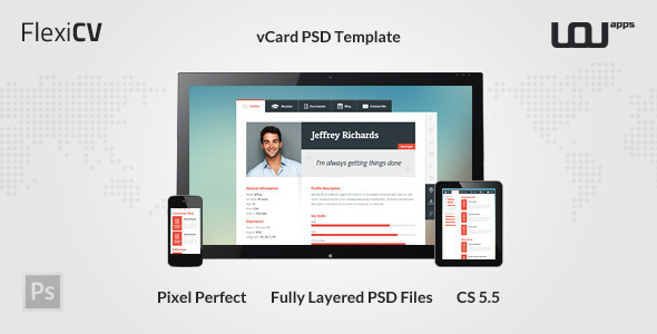 FlexiCV - vCard PSD Template - Virtual Business Card Personal