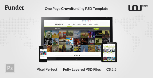 FUNDER - One Page Crowdfunding PSD Template - Miscellaneous PSD Templates