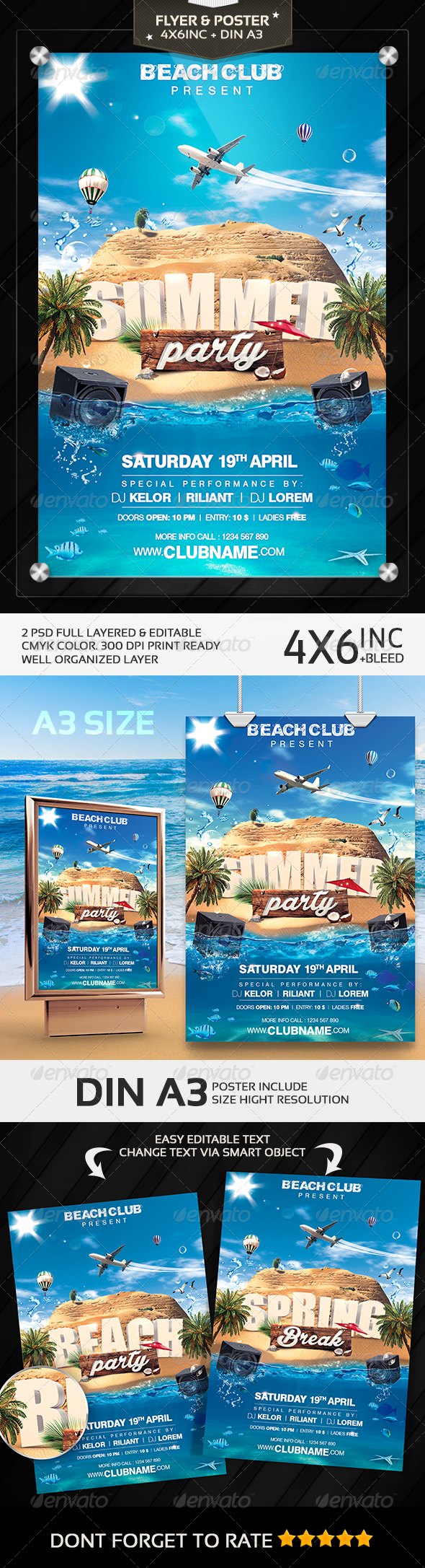 Summer Party | Spring Break | Beach Party Flyer - Clubs & Parties Events