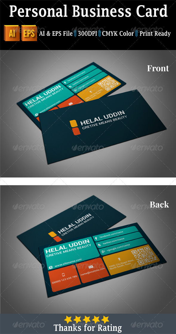 Personal Business Card - Business Cards Print Templates