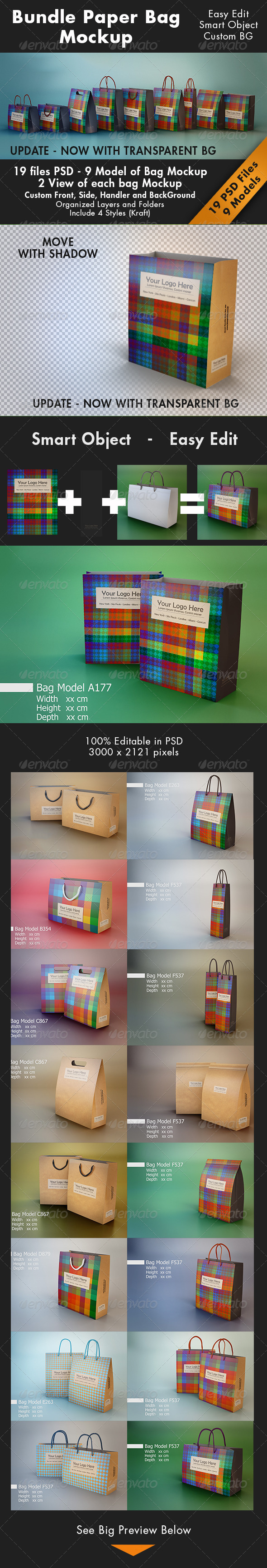 Bundle Paper Bag Mockup - Miscellaneous Packaging