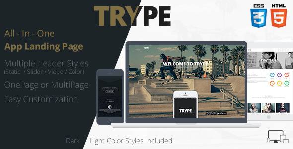 TRYPE - All In One App Landing Page - Creative Landing Pages