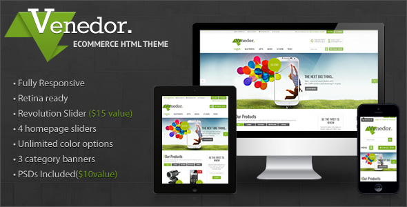 Venedor - Premium Bootstrap Ecommerce HTML5 Template - Shopping Retail