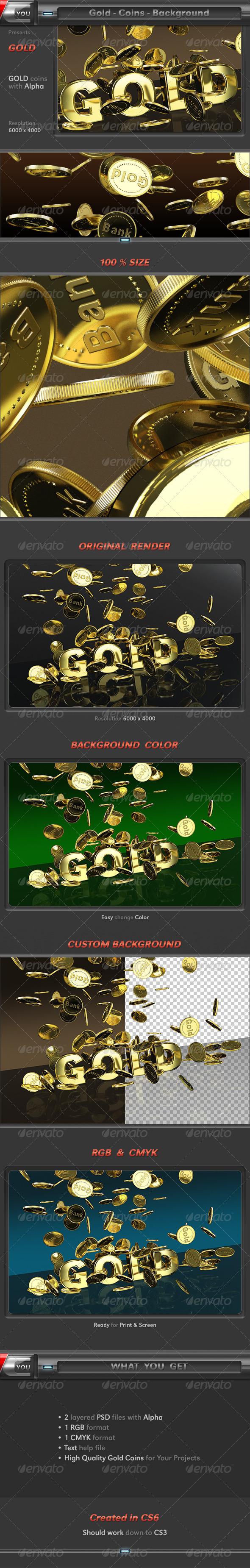 Gold Coins 3D Background - Text 3D Renders