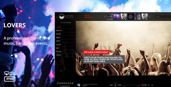 Lovers - Music HTML Template Free Templates