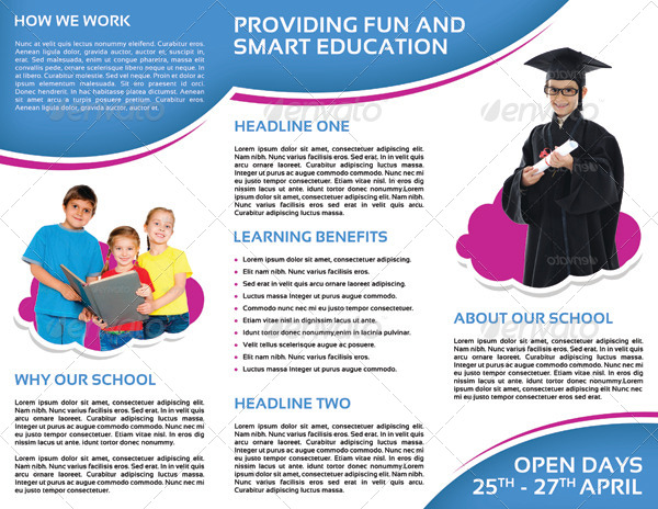School Promotion TriFold Brochure Vol 1 by letsjustdesign – Kindergarten Brochure Template