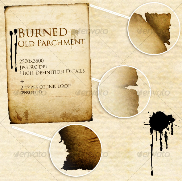 Burned Old Parchment (+ ink drop) - Industrial / Grunge Textures