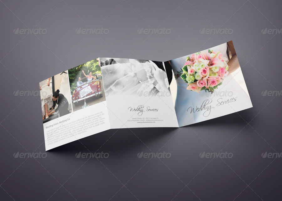 square trifold wedding brochure by webnovo