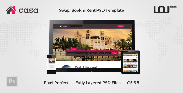 Casa – Swap, Book & Rent PSD Template
