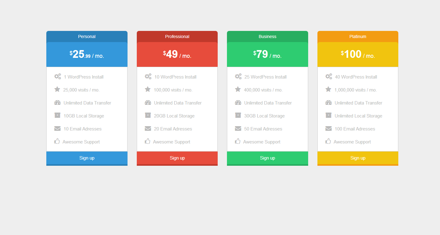 Pure css pricing table by bourhaouta codecanyon for Table css template