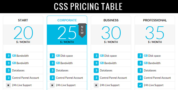 Clean Modern Pricing Table - CodeCanyon Item for Sale