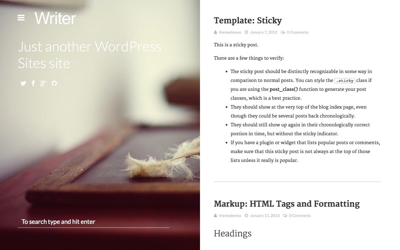 Writer: Bold WordPress Bloggin Theme by sonnyt | ThemeForest