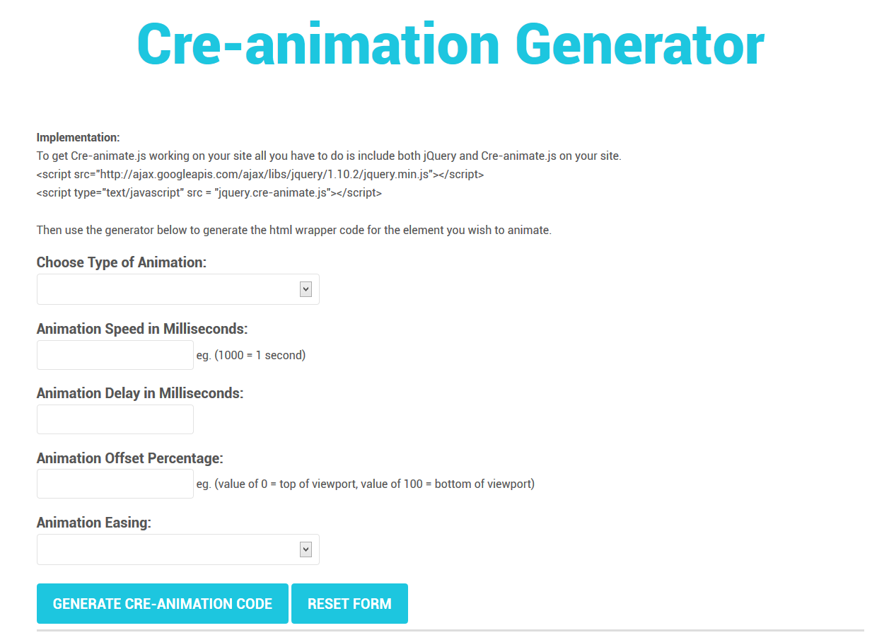 Cre-animate - Onscroll jQuery Animations