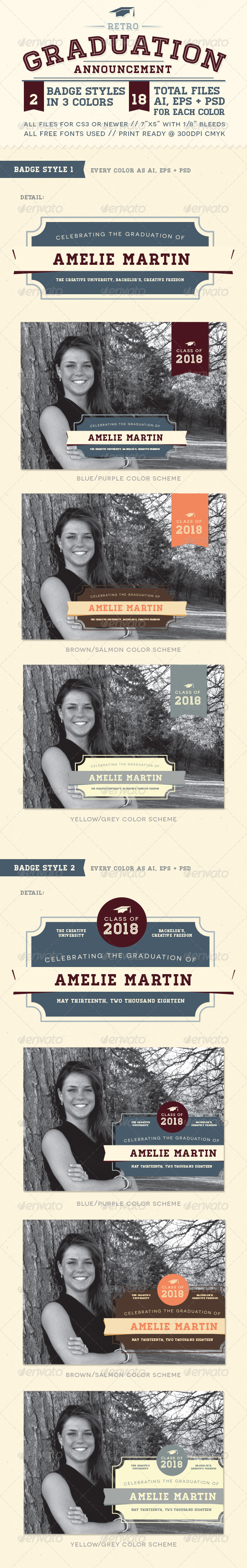 Retro Graduation Announcement - Invitations Cards & Invites