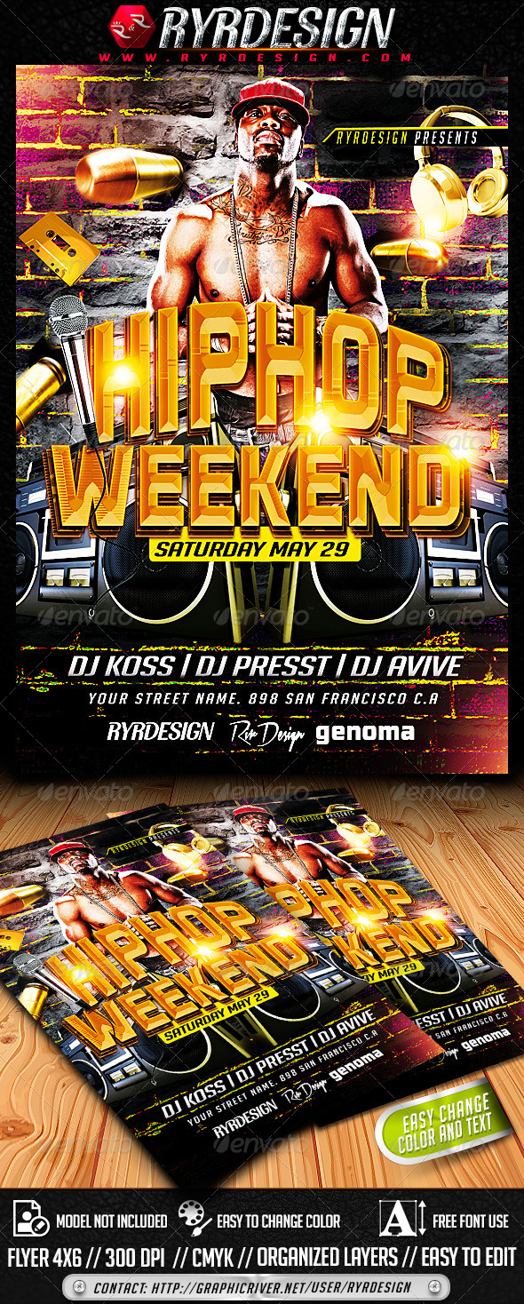 HipHop Flyer Template PSD - Events Flyers