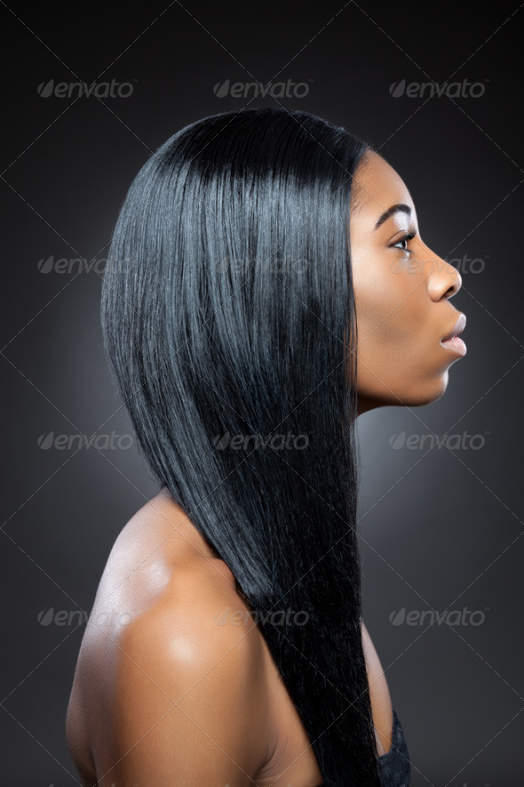 Black beauty with long straight hair - Stock Photo - Images