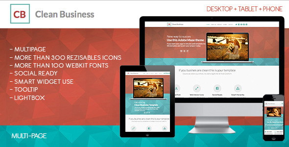 Clean Business Multipage | Muse Template