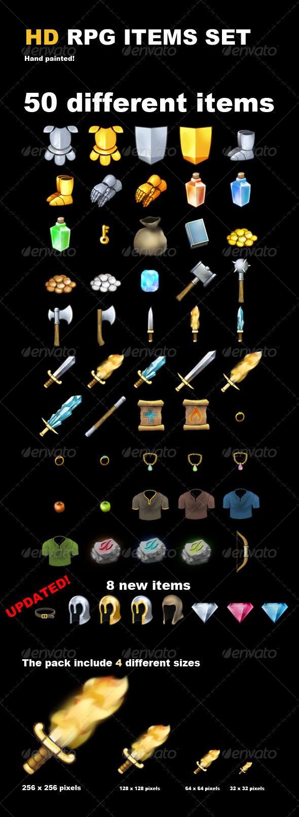 50 HD RPG Items - Sprites Game Assets