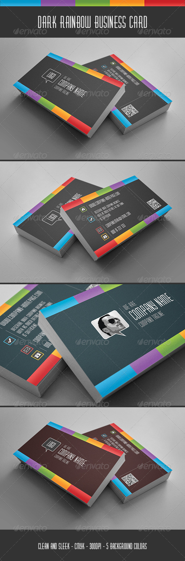 Dark Rainbow Business Card - Corporate Business Cards