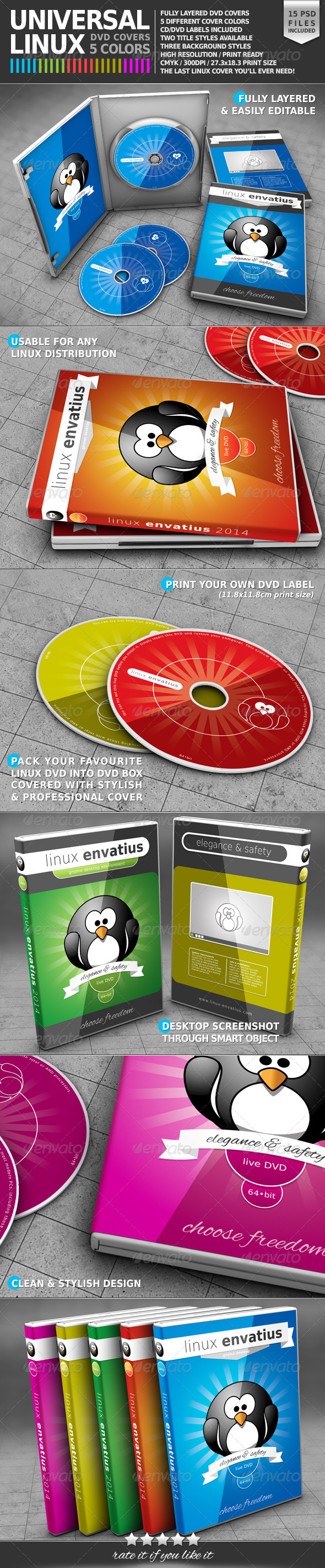 Universal Linux DVD Cover Pack - CD & DVD Artwork Print Templates