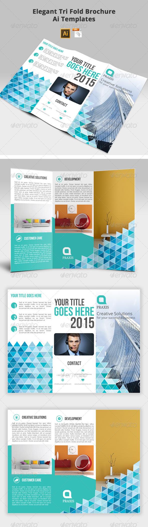 Elegant Tri-Fold Brochure Ai Templates - Brochures Print Templates