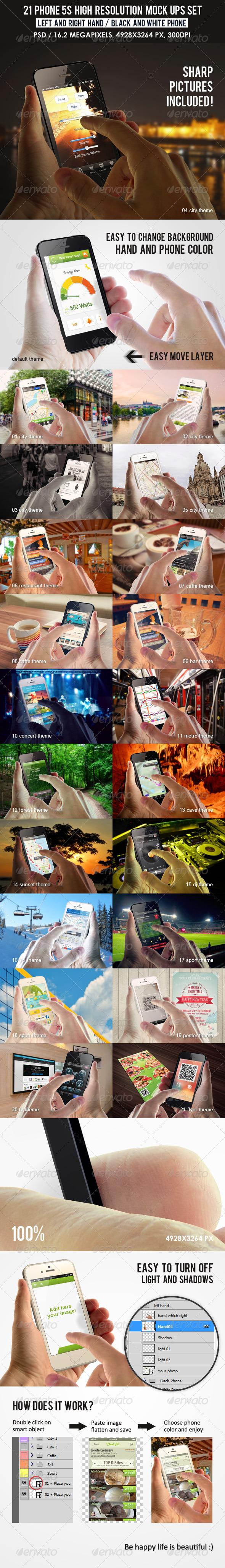 21 Phone 5s high resolution Mock Ups Set - Mobile Displays