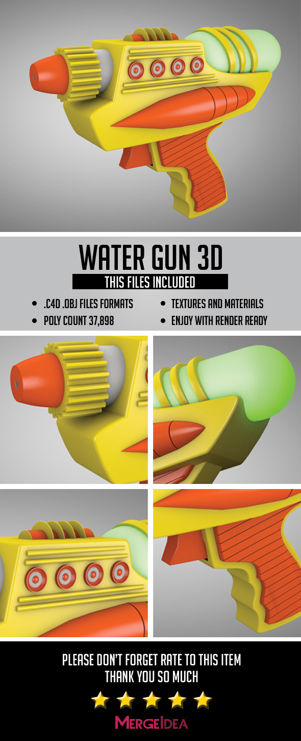 Water Gun 3D - 3DOcean Item for Sale