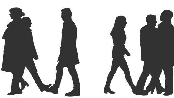 Silhouette Of People Walking On Street: Silhouette Of People Walking In The Street By Mgpremier