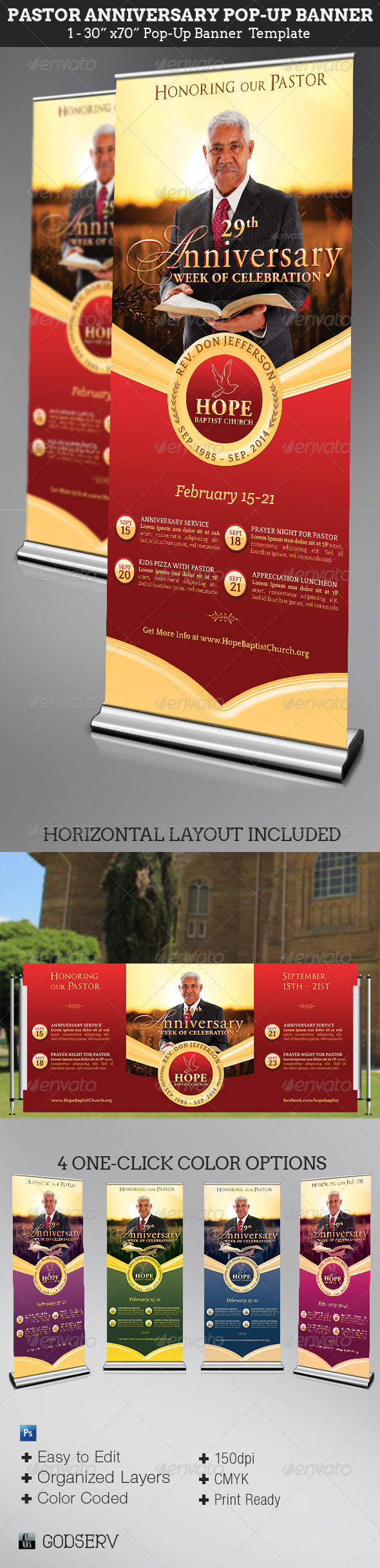 Pastor Anniversary Pop-Up Banner Template  - Signage Print Templates