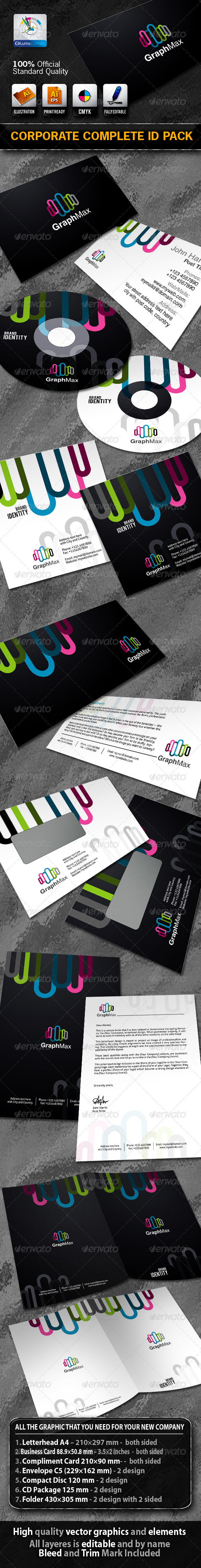 GraphMax Business Corporate ID Pack With Logo - Stationery Print Templates