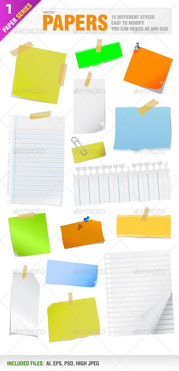 Note Papers - Web Elements Vectors