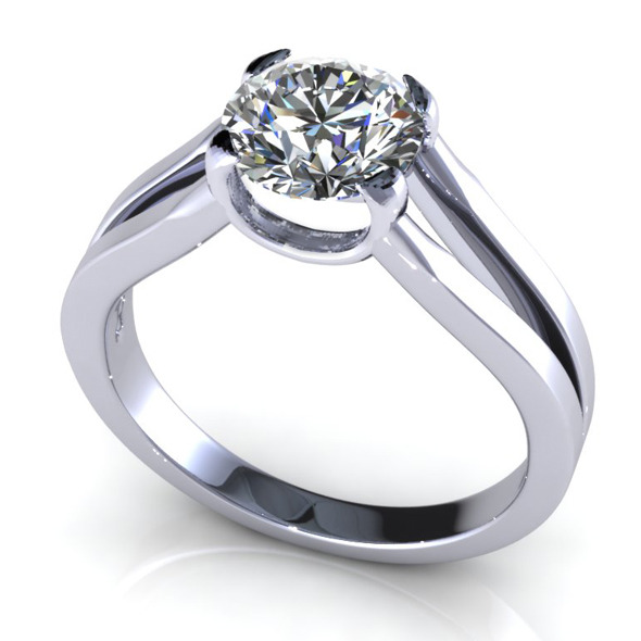 Bianco Round Diamond Ring - 3DOcean Item for Sale