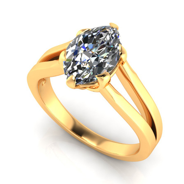 Bianco Marquise Diamond Ring - 3DOcean Item for Sale