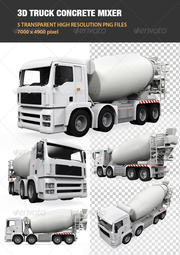 3d truck concrete mixer by nerthuz graphicriver