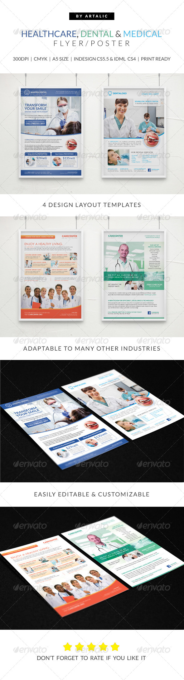 Healthcare medical dental flyer poster pack by artalic for Pharmacy brochure template