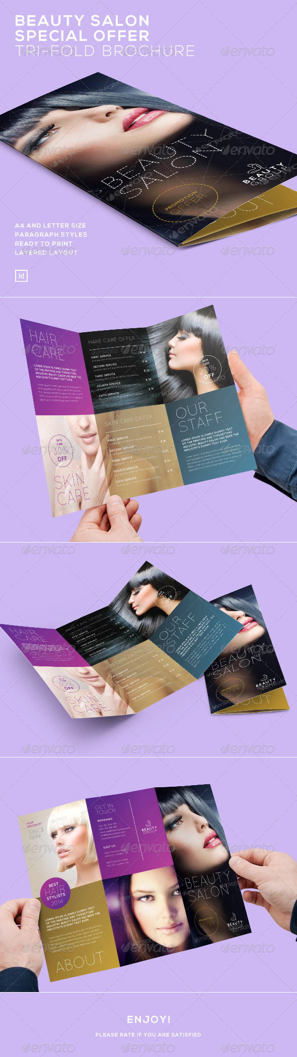 Beauty Salon Special Offer - Tri-Fold Brochure - Brochures Print Templates