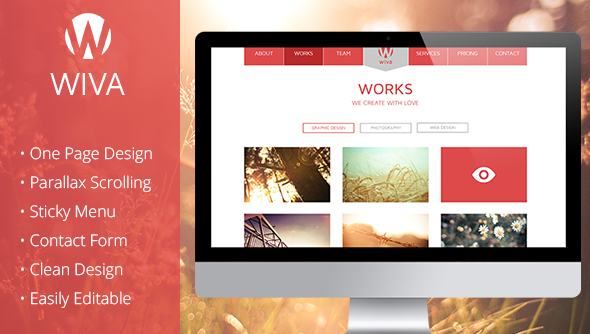 Wiva – One Page Parallax Muse Template