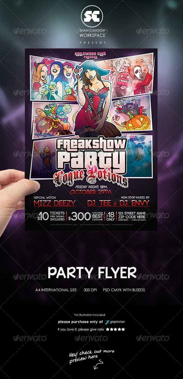 Freak Show Party Flyer - Clubs & Parties Events