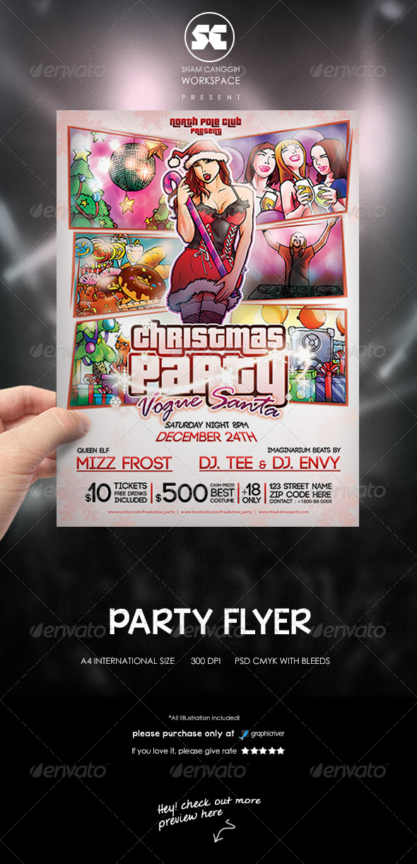 Modern Happy Christmas Party Flyer - Clubs & Parties Events