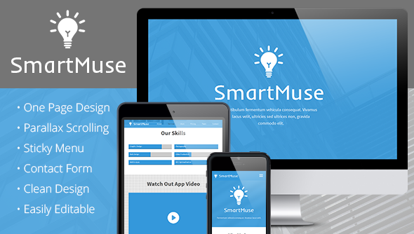 SmartMuse - One Page Parallax Muse Template  - Muse Templates