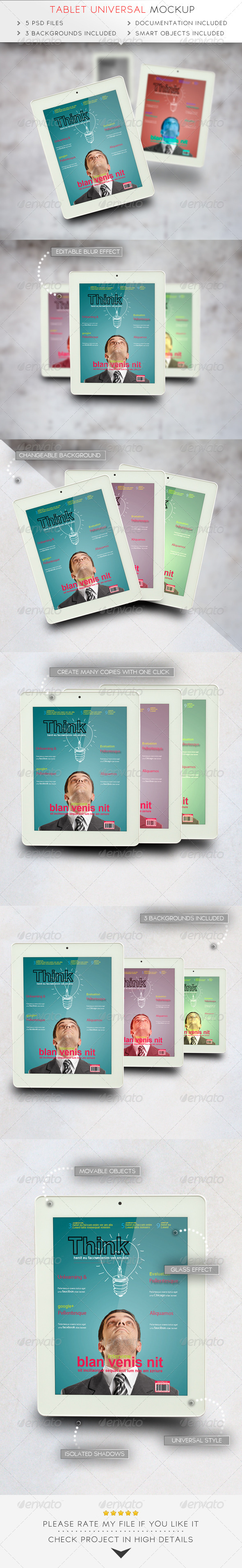 Tablet Universal Mockup - Mobile Displays