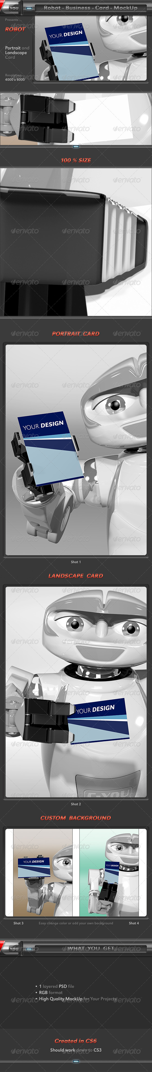 Robot Business Card MockUp - Business Cards Print