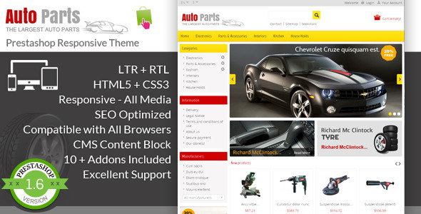 Auto Parts - Tools Prestashop Theme