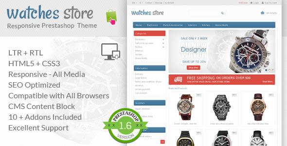 Watches Store – Prestashop Responsive Theme