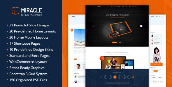 Miracle - Mega PSD Pack - Corporate PSD Templates